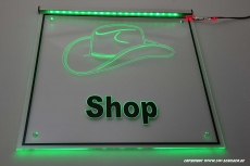 LED company sign cap - shop engraved with indirect lighting