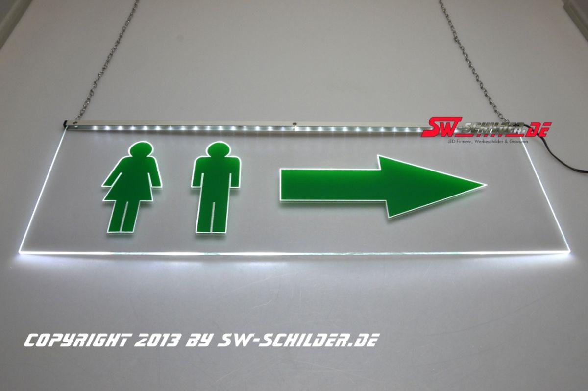 Led Lampen Folie : Led beleuchtetes schild wc mann frau piktogramm folie pfeil rechts