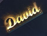 LED nameplate DAVID engraved with indirect lighting