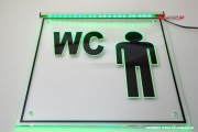 LED illuminated sign engraved WC men pictogram with indirect lighting